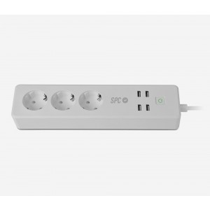Regleta Spc Clever Power Strip 3ac 4usb Intel·ligent Blanca